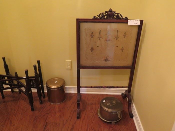framed embroidery screen and brass