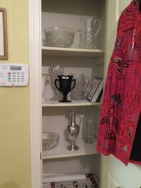 big glassware items and silver ewer