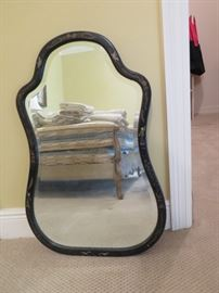 black lacquer chinese framed beveled mirror