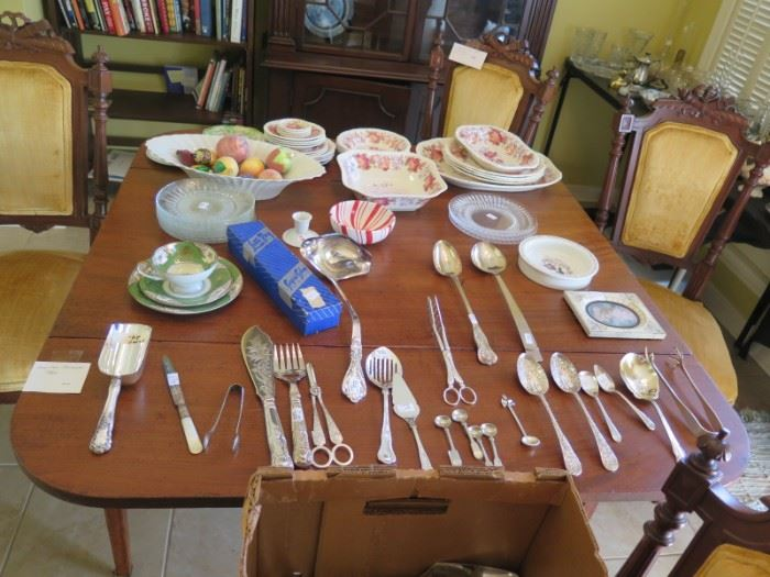 silverplate serving and spode china