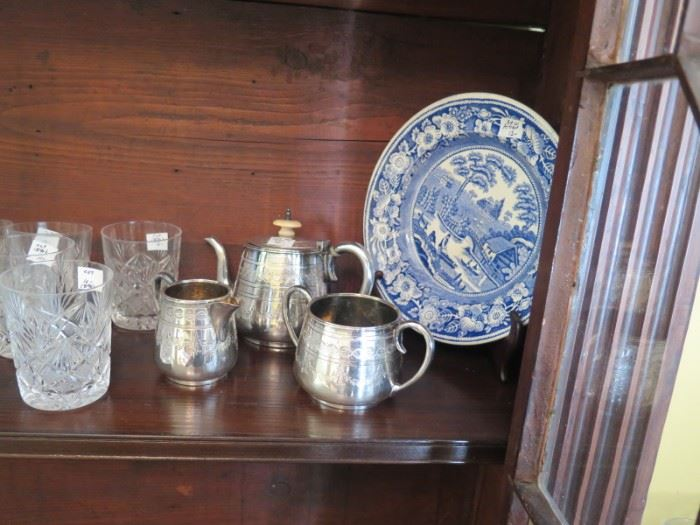 childs silver tea set, blue willow