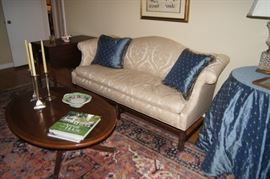 Chippendale style camel back sofa