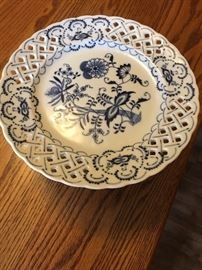Blue Danube Footed Pedestal Pierced Cake Pastry Cookie Plate Compote