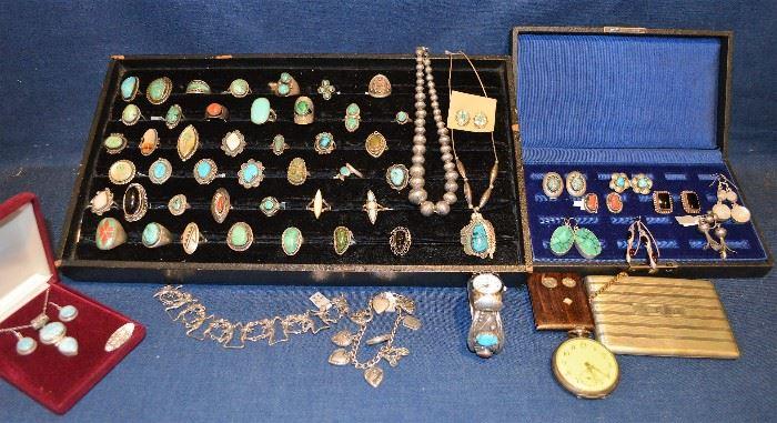 Native American Rings, Sterling Earrings, Necklace,