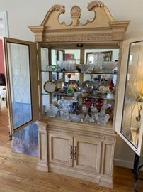 China, pottery, crystal including Waterford, etched glass, ornate china cabinet with large glass display and mirrored backing.