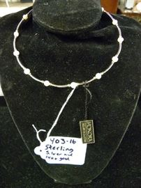 Sterling & 14kt Gold Chocker