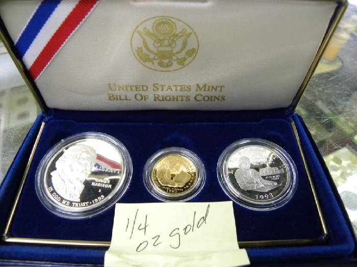 Bill of Rights Coin Set with 1/4oz Gold Coin
