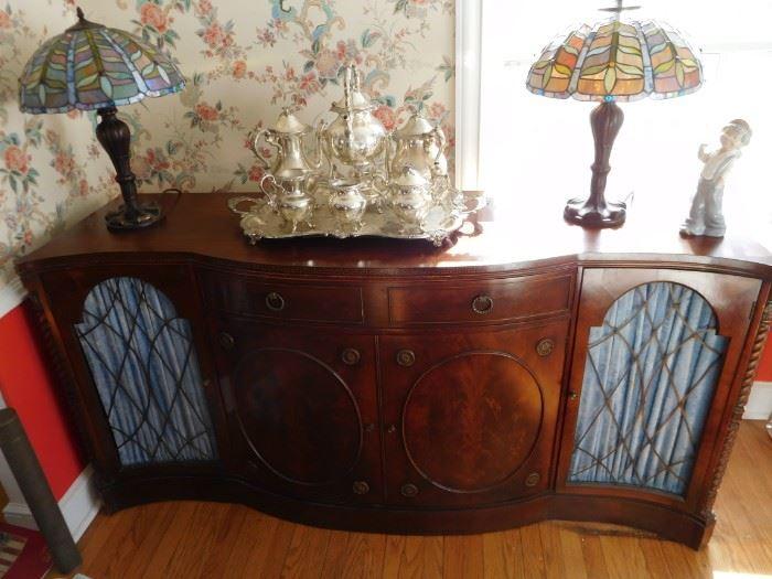 Mahogany  buffet, art glass  lamps(new),silverplate  tea  set