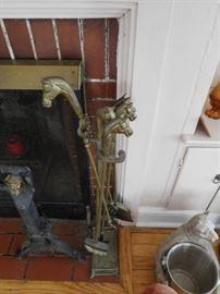 horsehead  fireplace  tools