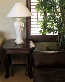 Pair End Tables, Pair Table Lamps, Faux Tree w Lights, Leopard Print Stool