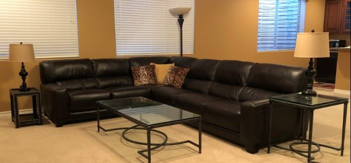 Sectional Sofa, Matching Coffee Table and End Table, Nailhead Accent Table, Pair Table Lamps, Floor Lamp and Decorative Pillows