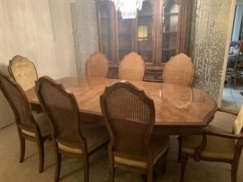 Dining room table, 8 chairs and buffet/china cabinet, comes with 2 additional extensions and pads, stained white oak