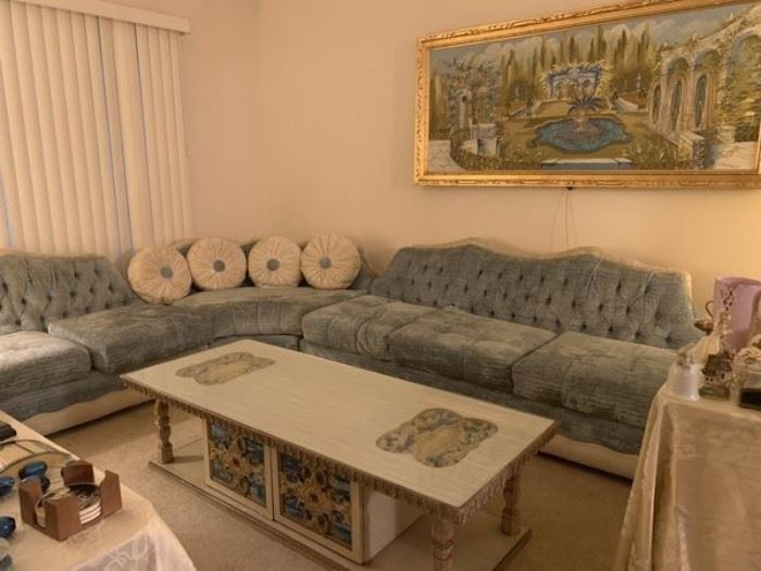 Retro sectional living room set (blue velvet) with ottoman(SOLD), 2 chairs, coffee table, 2 end tables, 2 lamps, and light-up painting, available separately