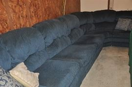 Family room 6 piece sectional, blue velvet, with sofa bed