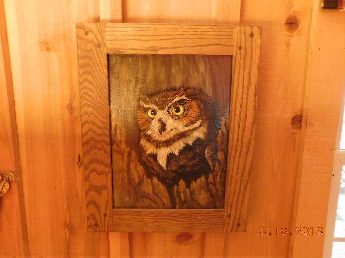 Oil on board owl.