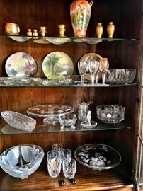 waterford, lalique, coin glass, american cut glass, picard gold items, hand painted plates