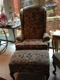 wing back chair and matching ottoman