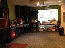 books, linens, and blankets