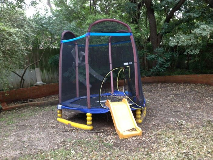 youth trampoline with slide and net(we will furnish tools for you to take apart)
