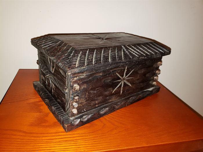 Vintage Wood Carved Secret Chamber Box