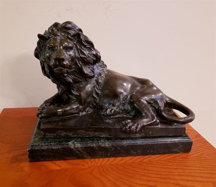 Bronze Lion signed Barye heavy