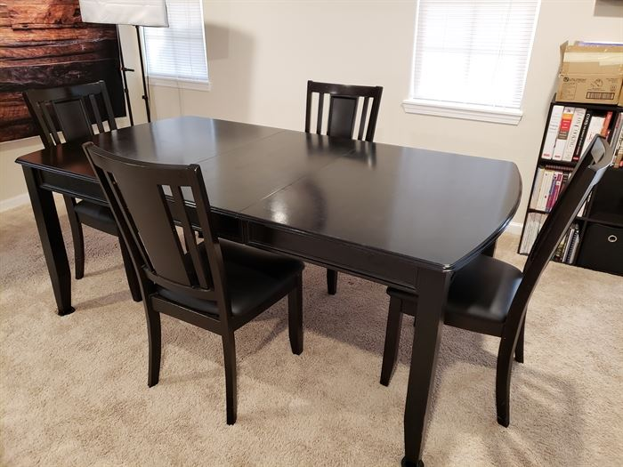 Black Wood Dining Table 4 chairs