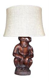 Plaster Monkey Lamp
