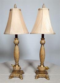 Pair of Gold Tone Lamps