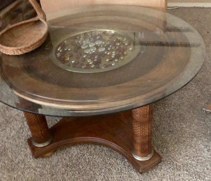 Side table with glass