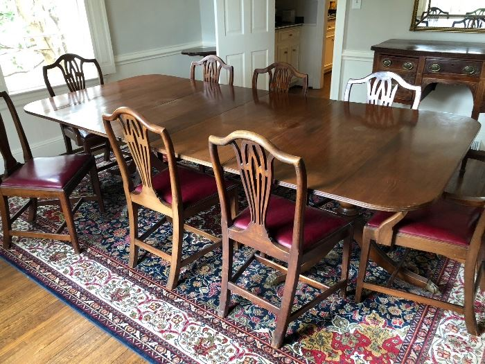 2- pedestal mahogany Dining table with 9- chairs