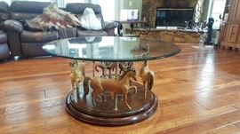 Beautiful Vintage Carousel Coffee Table.   Spins on base!