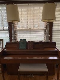 piano and lamps