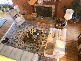 Sofas, occasional chairs, area rugs & tables
