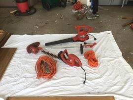 Electric yard tools:  String trimmer + hedge trimmer + blower