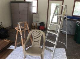 6 foot aluminum ladder + 4 foot wood ladder + sturdy outdoor chair