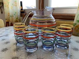 Vintage Rainbow stripe juice set