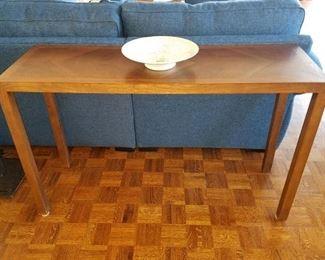 Sofa table with wood inlay