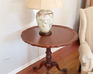 Folding pie crust table. Frederick Cooper lamp