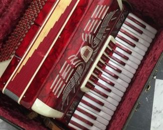 Vintage 1950's red marble Renelli accordion