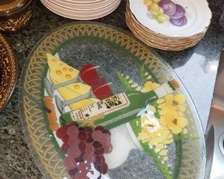Peggy Karr art glass (wine and cheese)