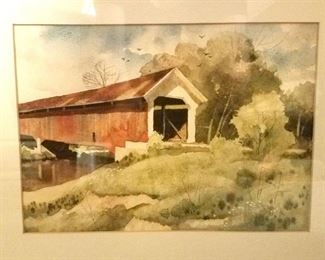 Covered bridge watercolor