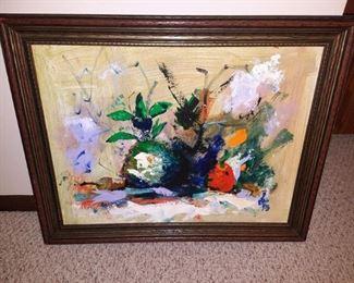Retro abstact original still life painting