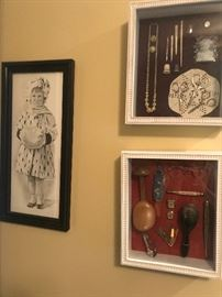 Antique shadow box items