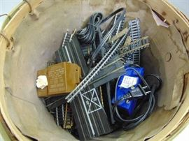 BASKET OF HO TRAIN TRACK TRANSFORMERS