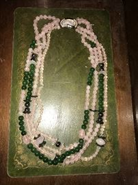 Pink & Green beaded jade necklace