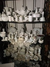This is an entire shelf full of milk glass!!