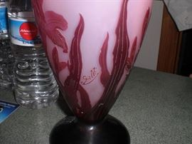 """Detail of the Galle' signature on the Hibiscus 10"""" vase"""