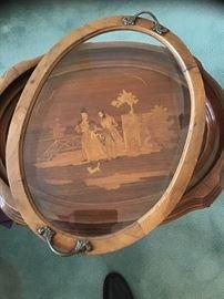 Antique End Table Tea Caddy Baroque Top