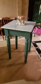 Artisan Handmade Bakers Table with Vermont Marble