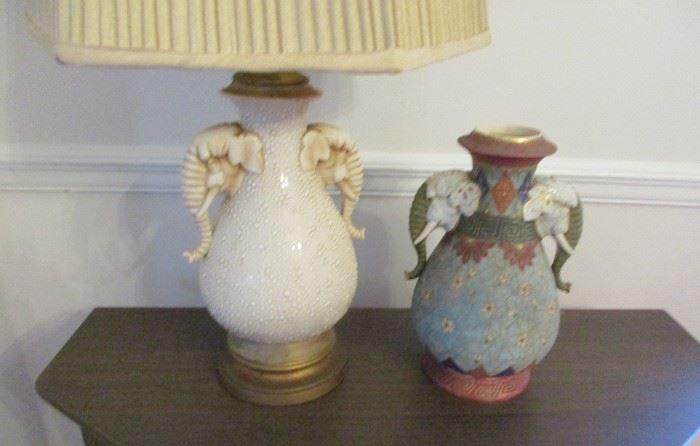 elephant head lamp and vase